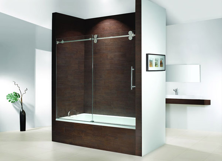 brushed dreamline door frameless doors dp visions tub width sliding in